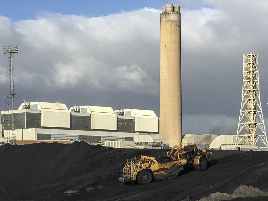 Coal storage area at Aberthaw Power Station.