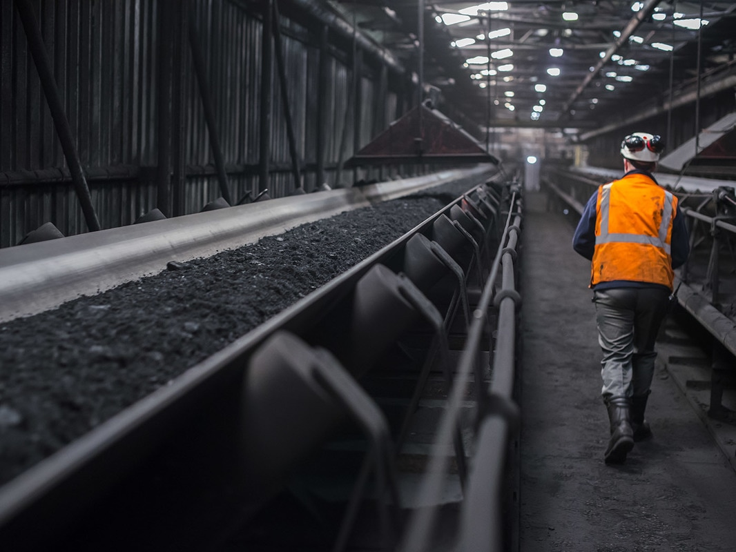 Conveyor taking coal to the furnaces.