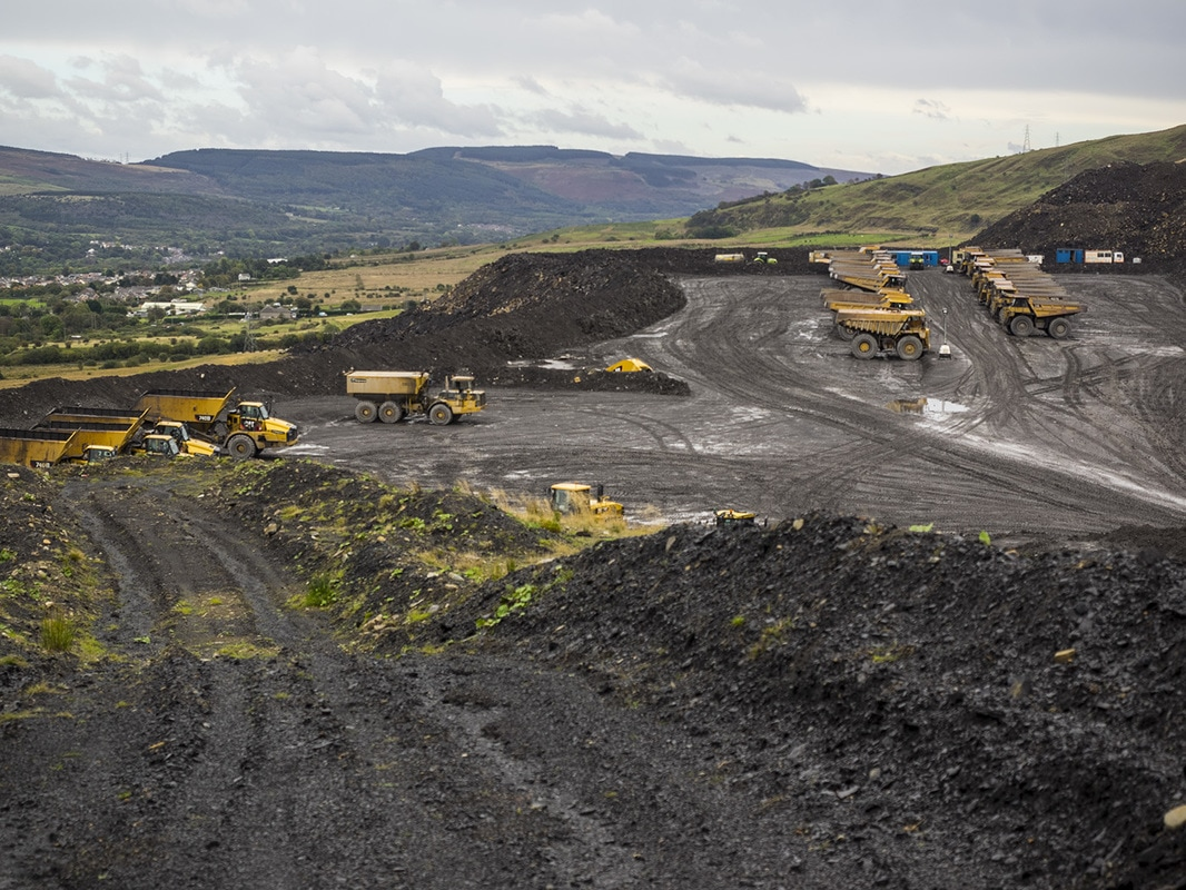 Dumper truck park at the mine.