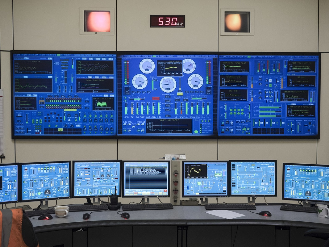 Each generator has its own control panel, this one showing an output of 530MW.