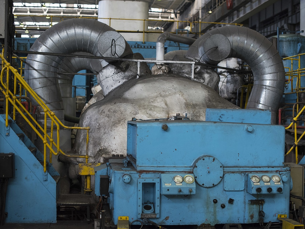 One of three giant steam turbines that drive the generators.